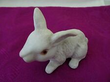 Vtg. White Bisque Rabbit Figurine-Painted Eyes