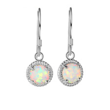 White Opal Round Drop Earrings, 925 Sterling Silver, Mothers Day Gift, Boxed