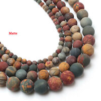 "4-10mm Dull Polish Matte Picasso Jasper Round Ball Beads Loose Bead 15.5"" YJ84TZ"