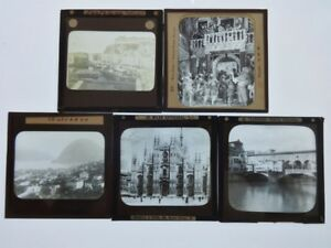 5 Glass Magic Lantern slides job lot bundle Italy