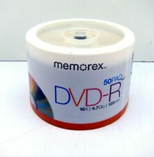50 New Memorex 16X Silver Logo Blank 4.7GB DVD-R Media Fast USPS Priority Mail