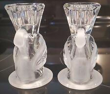 Partylite Swan Taper Holder Pair - 24% Lead Crystal - Mint