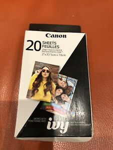 """ZINK 20 SHEETS 2 X 3"""" STICKY BACKED PHOTO PAPER FOR CANON IVY MINI PHOTO PRINTER"""