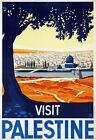 "Vintage Illustrated Travel Poster CANVAS PRINT Visit Palestine 24""X16"""