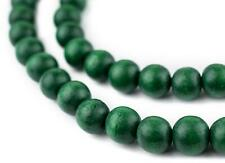 Green Round Natural Wood Beads 10mm Large Hole 16 Inch Strand