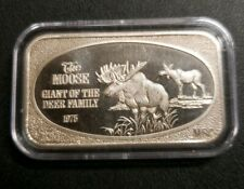 1 Oz. .999 SILVER ART BAR/ THE MOOSE GIANT OF THE DEER FAMILY 1975 USSC MINT