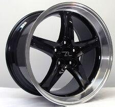 """18"""" Black w Lip Mustang Cobra R Wheels Deep Dish 18x9 18x10 5x114.3 94-04"""