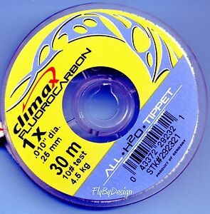 Climax Crystal Clear Fluorocarbon 1x (10 lb test) Flyfishing Tippet Material