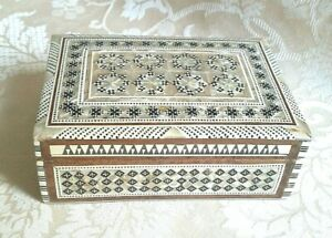 VINTAGE, WOODEN BOX WITH MOTHER OF PEARL INLAY