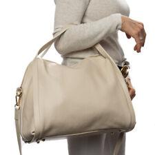 Italian beige pebbled calf leather satchel handbag;NEW STYLE Vittoria Pacini