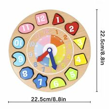 NEW Lewo Wooden Educational Toys Shapes Sorting Teaching Clock Lacing Beads Game