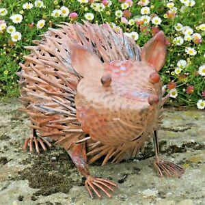 Large Brown Metal Spiky Hedgehog Ornament Hand Painted