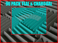 """(96 PACK) 2"""" x 12"""" x 12"""" TEAL/CHARCOAL Acoustic Wedge Soundproofing Studio Foam"""