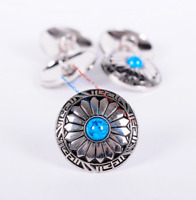 10PC 30MM FLORAL TURQUOISE ANTIQUE SLIVER SCREW BACK CONCHOS FOR BELT WALLET