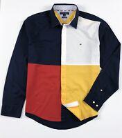 TOMMY HILFIGER Shirt Men's Brushed Twill Colour Block Multicolour Custom Fit