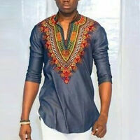 Mens  Long Sleeve Shirt Tribal African V neck Print Blouse Hippie Top Tee