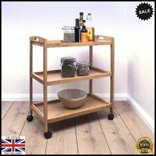 Bamboo Drinks Trolley Cart 3 Tier Kitchen Serving Storage Shelf Tea Bar Wheels