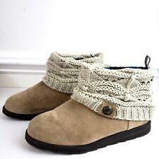 Muk Luks Women's Patti Cable Knit Cuff Booties 10 Tan Ankle Boots Sweater Cuff