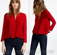 ZARA WOMAN BURGUNDY RED FINE PLEATED BLOUSE WITH ZIP JACKET TOP SIZE S UK 8