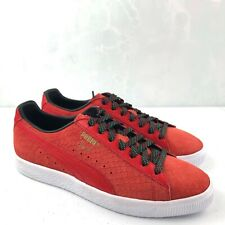PUMA Clyde Women's Platform Sneakers Suede High Risk Red Black 365589 Size 9.5
