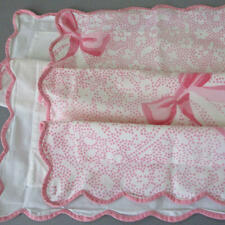 2 Vintage PORTHAULT Boudoir Pillow Shams PINK BOWS Dots * Scalloped WAVY Trim