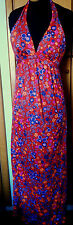 VTG 70S SIRENA  MOD BOHO HIPPIE DOLLY long HALTER FLORAL pool beach PARTY DRESS