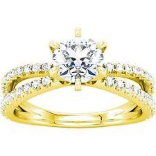 1.59 ct total Round Diamond Engagement Wedding 14k Yellow Gold Ring, 1 ct center