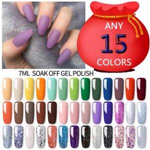 LILYCUTE 7ml UV Gel Polish Glitter Soak Off UV LED Nail Art Gel Varnish Set Kit