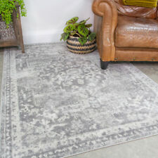 Traditional Grey Medallion Rug Small Large Distresssed Living Room Rugs Bedroom