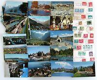 Schweiz Postkarten Sammlung 50x Kleinformat Ansichtskarten mit Briefmarken >1957