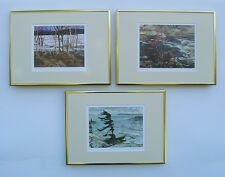 Group of Seven, Thomson, Jackson & Varley 3 Art Prints in Shiny Gold Frame