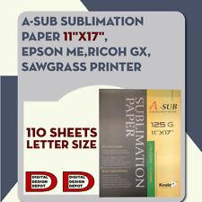 A-SUB 11x17 Dye Sublimation Heat Transfer Paper 110 Sheets Cotton Polyester Mug