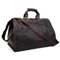 Vintage Men's Real Leather Travel Luggage Camping Carry On Handbag Shoulder Bag