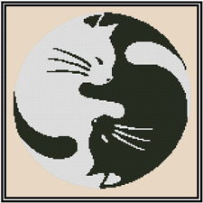 Black and White Cats Silhouette Counted Cross Stitch Complete Kit No.35-7