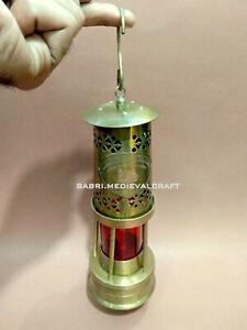"Ship Lantern Red Boat Lantern Antique Brass 11"" Minor Oil Lamp Nautical Maritime"