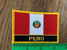 PERU Flag Iron-On Tactical Morale Travel Patch Peruvian Red Border #02