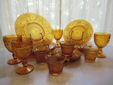 Tiara Indiana Glass Amber Sandwich Plates, Goblets, 6 oz Cups 20 piece Set