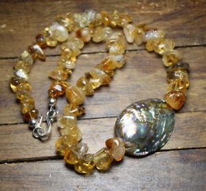 "Citrine Graduated Yellow Gemstone Necklace 19"" Abalone Mother of Pearl Pendant"