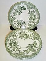 Enoch Wedgwood Tunstall Kent Saucers Green Flowers England-Lot of 4!!