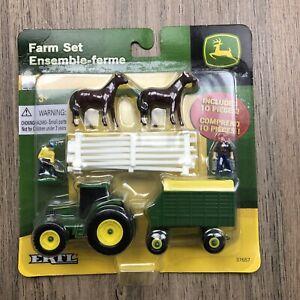 Ertl John Deere Farm Set 2010 New In Packet Mini People Horses & Tractor