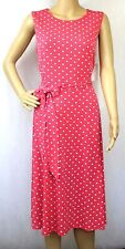 CHARTER CLUB Dress Size PL Sleeveless Tie Waist Coral Polka Dot New $89.50