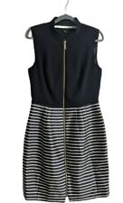 Ted Baker full skirt Dess Talla 12 Negro raya diseñador de Boda Fiesta Sin Mangas