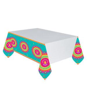 Diwali Plastic Party Table Cover - Border Print - 137 x 259cm