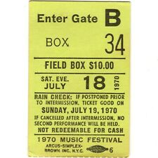 SIMON & GARFUNKEL Concert Ticket Stub QUEENS NYC 7/18/70 FOREST HILLS PAUL ART