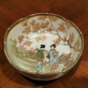 "Antique Japanese Meiji Satsuma 19th Century Bowl Gold 4.75""Diameter Hand Painted"