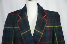 Perry Ellis Women's Blazer Size 6 Wool Colorful Check Plaid Career Double Breast
