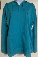 NWT VOLCOM Blue Henley Hooded Long Sleeve Shirt Men's Size Medium M