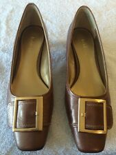 LIZ CLAIBORNE Bronze Brown Leather Kitten Heel Career Shoe Women 7 1/2M Buckle