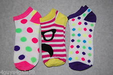 6c3f6edb5c4 Womens No Show Ankle Socks 3 PR LOT Fit Shoe Size 4-10 MUSTACHE Polka