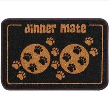 Brown Paw Print 60cm Washable Double Pet Dog Feeding Food & Water Bowl Mat